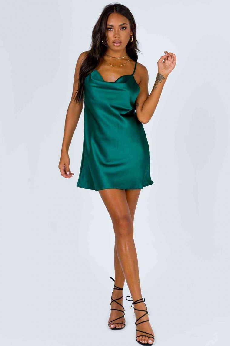 Saten Elbise Yeşil 2349