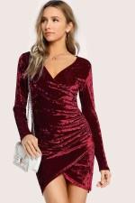 Merry See Kadife Elbise Bordo 2240