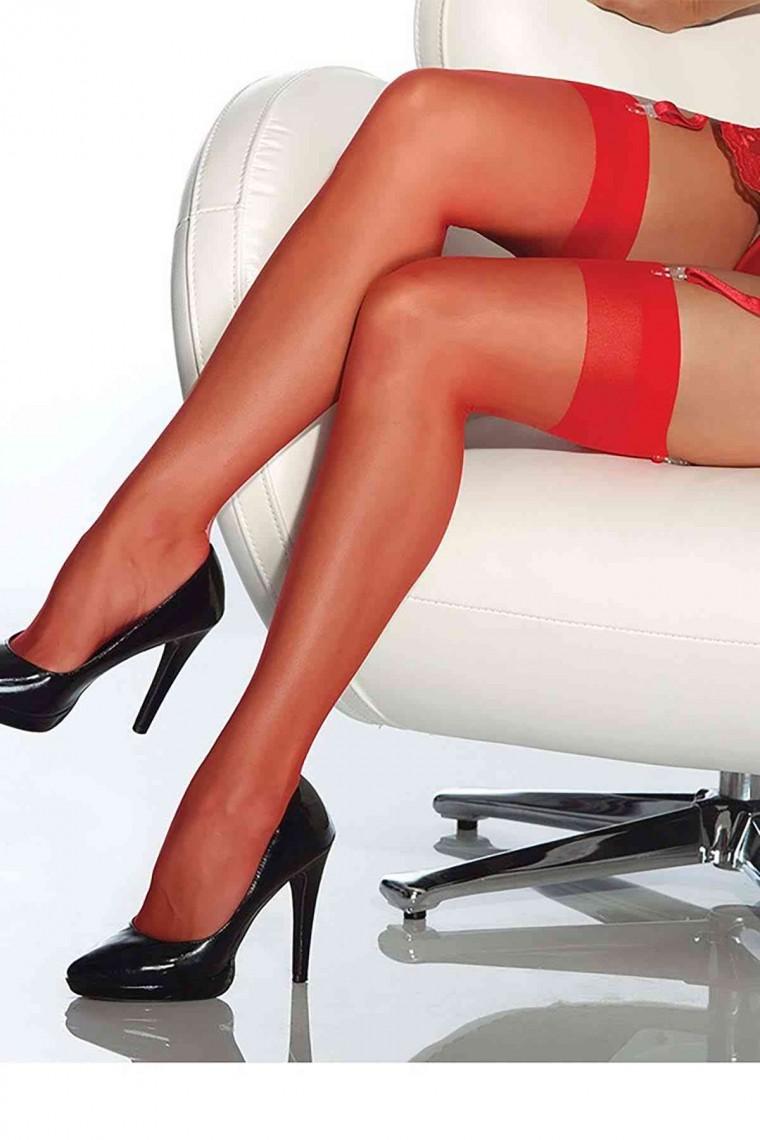 Merry See Kırmızı Dantelsiz Jartiyer Çorabı 5555-3