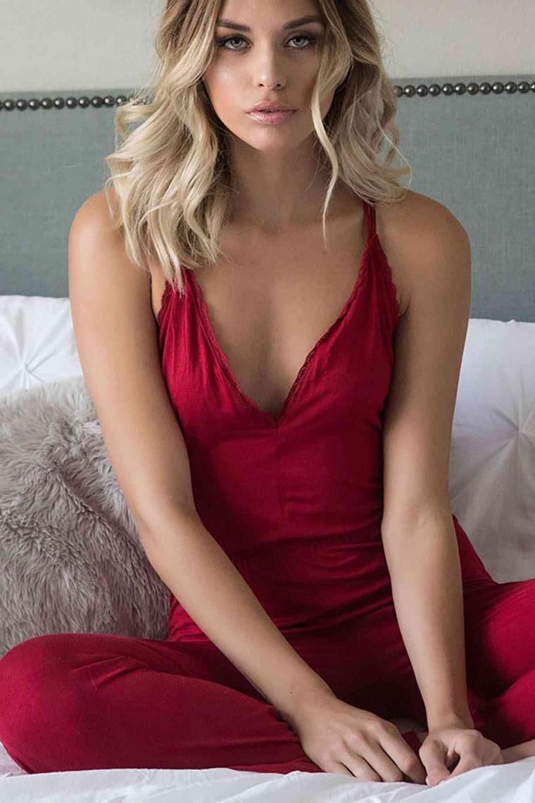 Kadın Tulum Pijama Kırmızı 4031