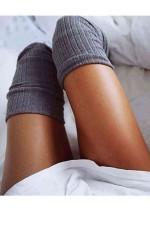 Diz Üstü Çorap Gri 7800